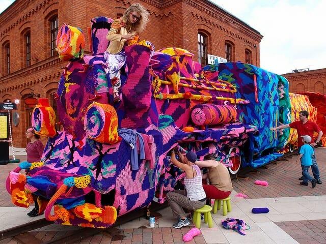 Olek, locomotive crochet Lodz en pologne