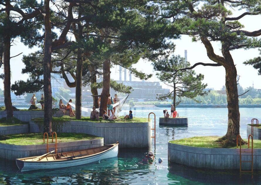 rendu de bateau près d'îles couvertes d'arbres