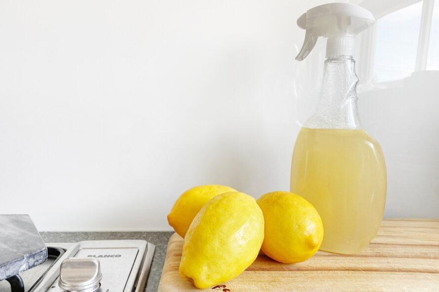 citrons, près, bouteille, fait maison, vinaigre, citron, nettoyant