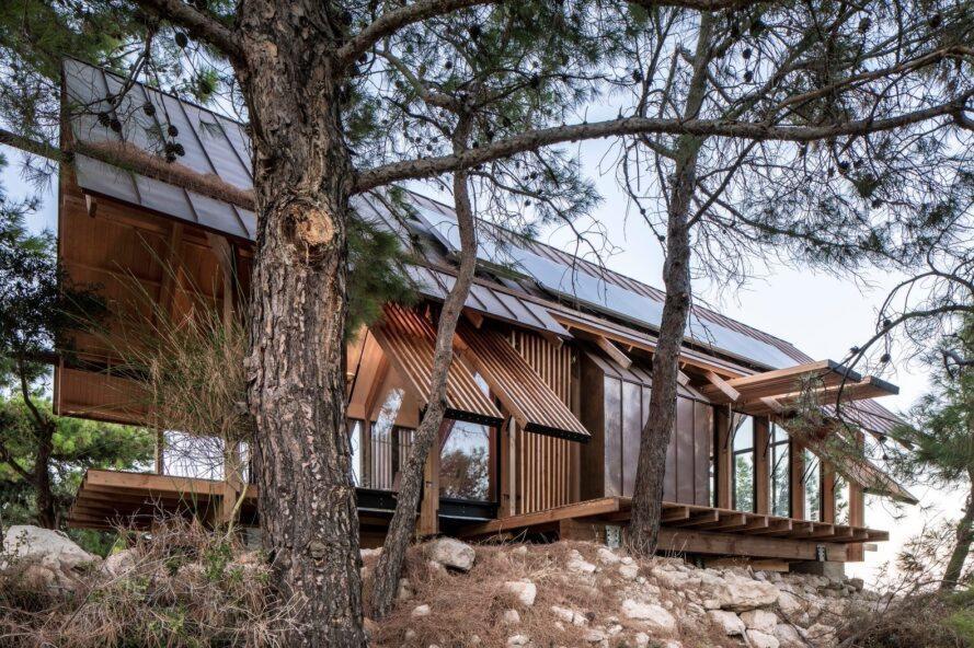 maison en bois avec toit en pente assis parmi les arbres