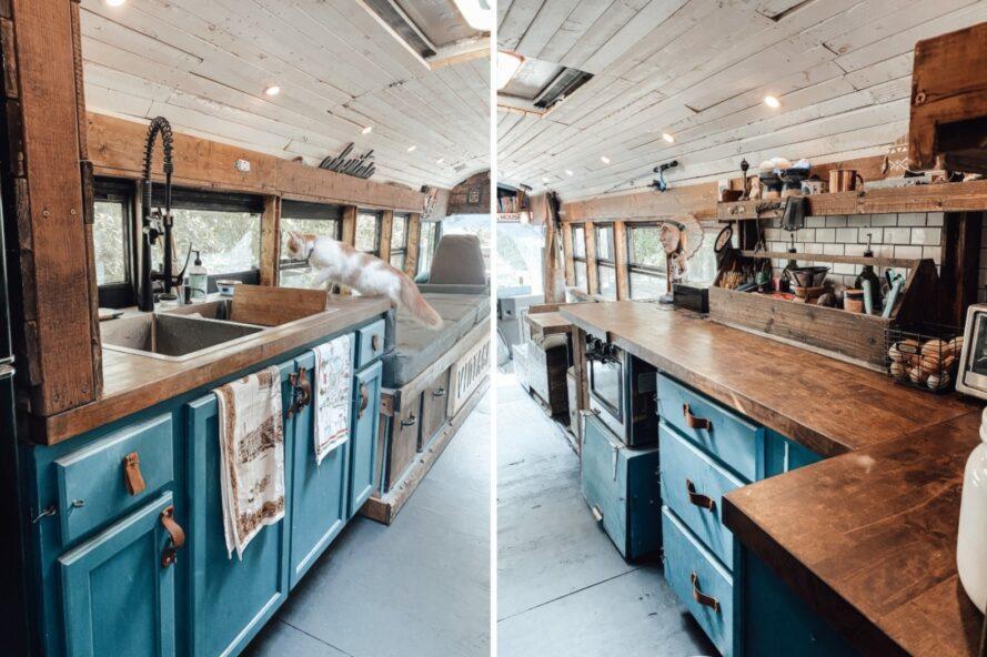 deux images d'un espace cuisine avec armoires bleues et comptoirs de boucherie