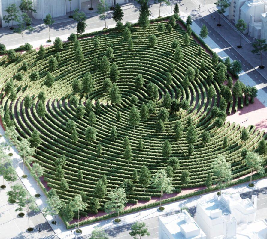 vue aérienne, de, parc, à, empreinte digitale, conception, de, haies, dans, a, ville