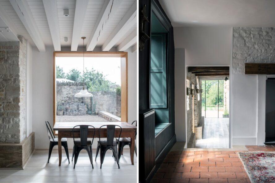 deux images: une grande table à manger à côté de la fenêtre et un espace de vie menant à une porte en verre