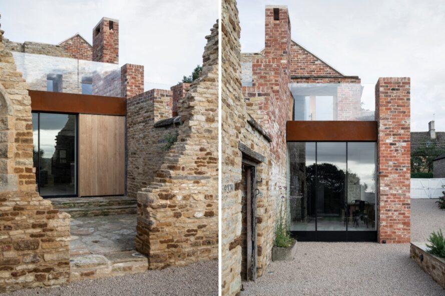 maison avec façade en briques cassées et intérieur moderne