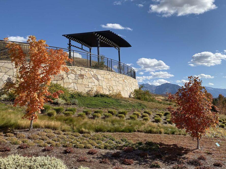 une photo de paysage avec des arbustes verts et des orangers. en arrière-plan est une plate-forme surélevée avec une petite zone de pavillon