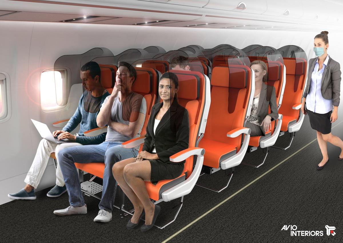 Avion avec housses de siège pour empêcher la propagation des germes