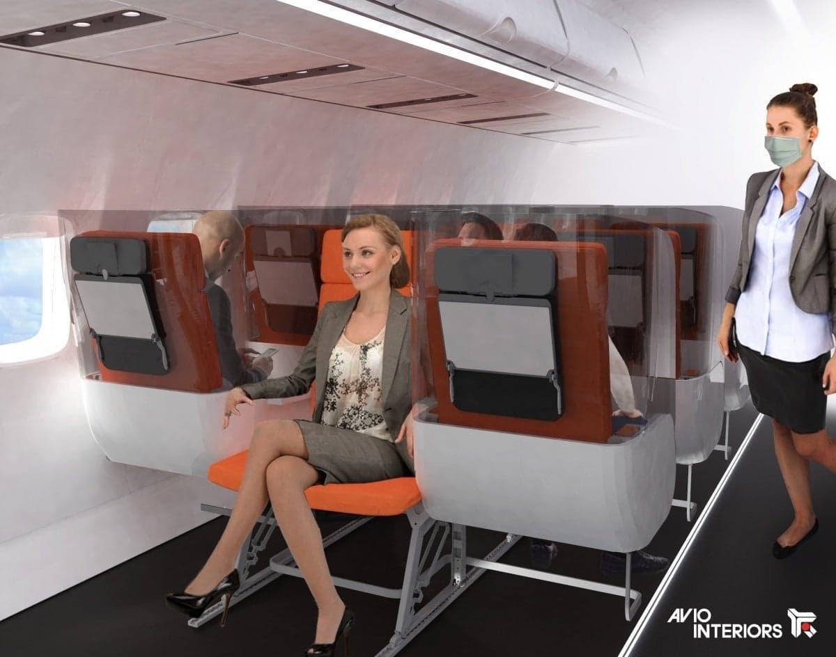 Disposition des sièges Zig Zag dans un avion pour prévenir le coronavirus