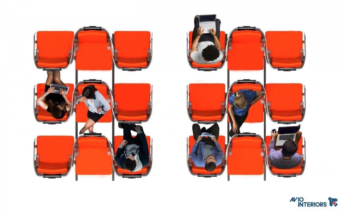 Disposition des sièges Zig Zag dans l'avion pour prévenir la maladie