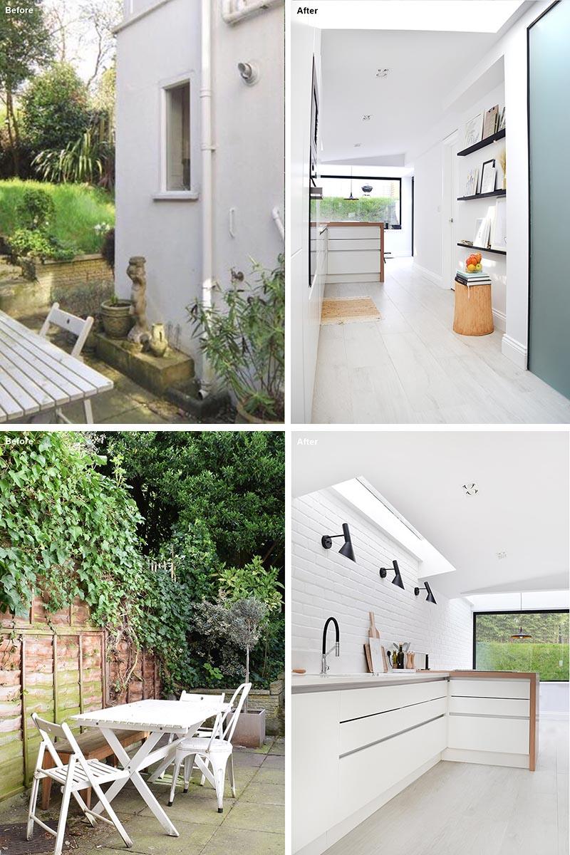 Avant et après - Extension de la maison - Le patio et le jardin étaient assez longs et leur forme a inspiré les concepteurs pour l'aménagement de la cuisine et de la salle à manger. #HouseExtension #KitchenDesign