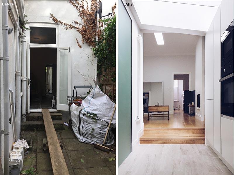 Avant et après - Extension de la maison - Ici, vous pouvez voir la porte d'origine du salon qui s'ouvrait sur le patio latéral. La nouvelle vue montre la connexion de l'escalier et le début des armoires de cuisine. #HouseRenovation #HouseExtension