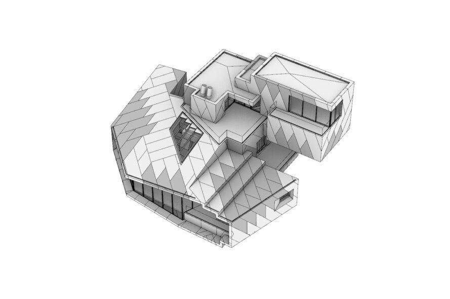 Diagramme 3D de l'extérieur en escalier d'un chalet