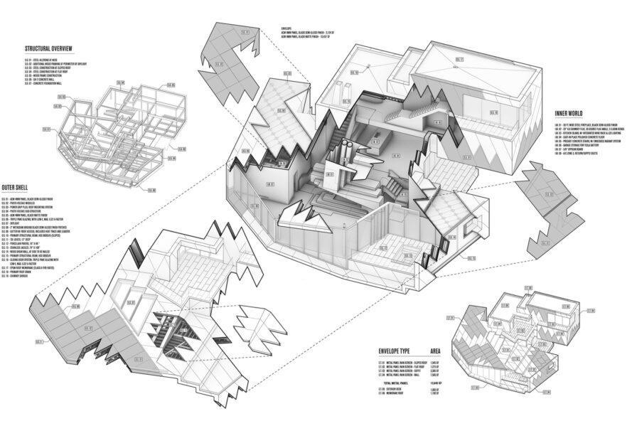 Diagramme 3D de différentes pièces et composants d'un chalet massif