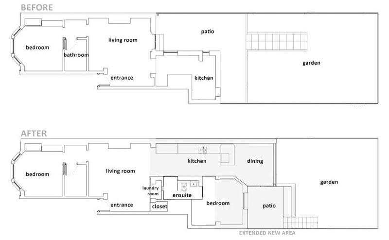 La firme de design The White Interior a récemment terminé la transformation et l'extension arrière d'une maison du nord de Londres, créant ainsi une salle pour le coin repas et la chambre avec une salle de bains privative. #RearExtension #Architecture #HouseLayout