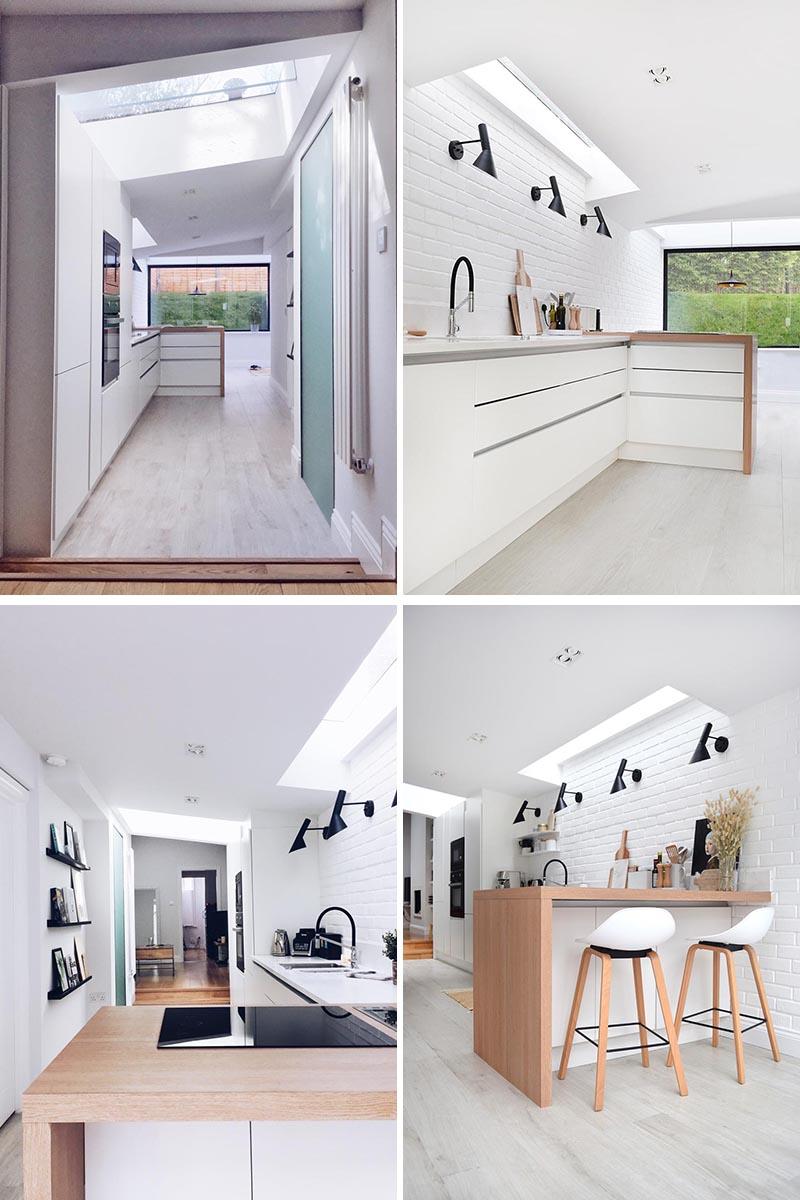 La cuisine a été conçue en forme de L, de sorte qu'elle puisse être utilisée comme espace de cuisson avec vue sur le jardin, et en même temps, être une transition visuelle entre la cuisine et la salle à manger. Les puits de lumière dans la cuisine contribuent à apporter la lumière naturelle à l'intérieur. #KitchenDesign #ModernKitchen #WhiteKitchen