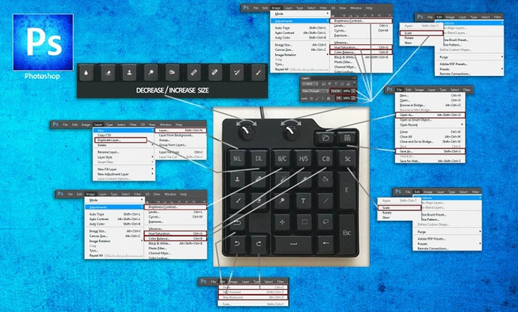 Clavier de la barre d'outils Photoshop