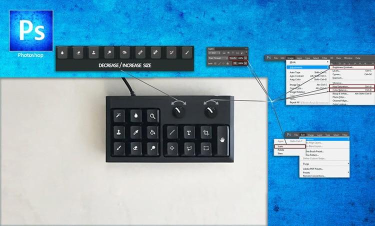 Mini clavier de la barre d'outils Photoshop