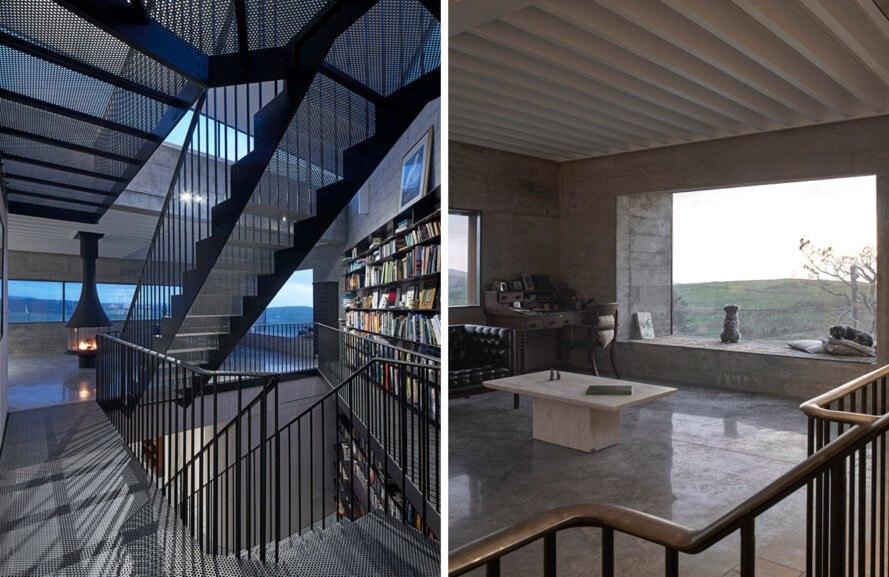 Espace de vie avec des étagères du sol au plafond et des fenêtres massives