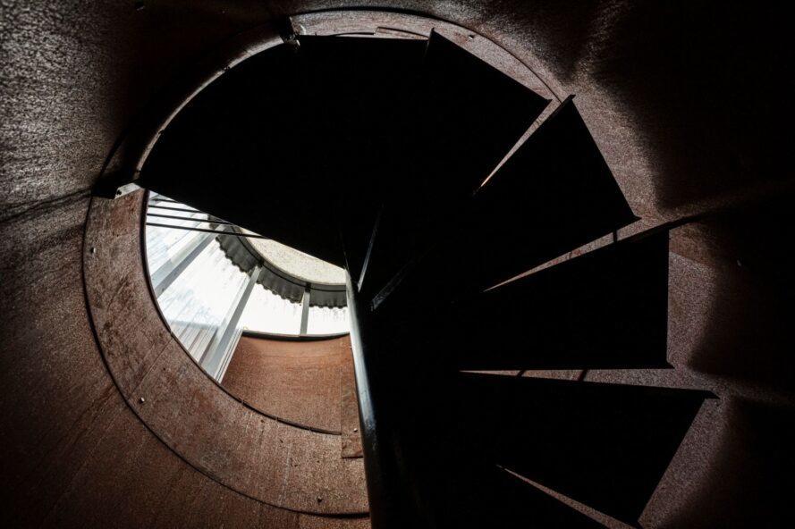 plan, vue, bas, escalier en colimaçon