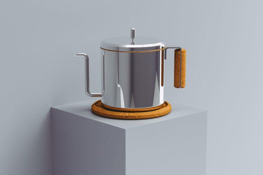 Cafetière à col de cygne avec poignée et base en liège