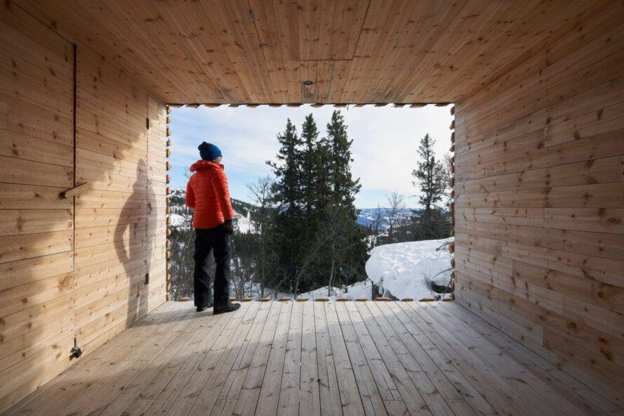 personne, dans, manteau rouge, regarder dehors, dans, neigeux, paysage montagneux