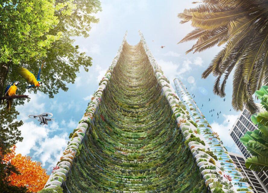 Rendu de la vue sur la rue jusqu'à un jardin vertical poussant sur un gratte-ciel