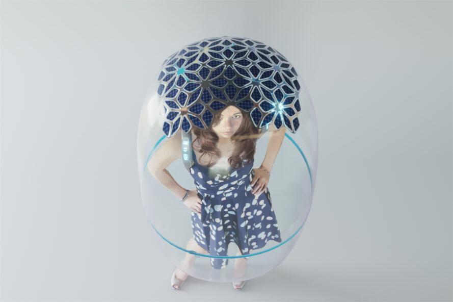 rendu de panneaux solaires sur un bouclier en forme de bulle