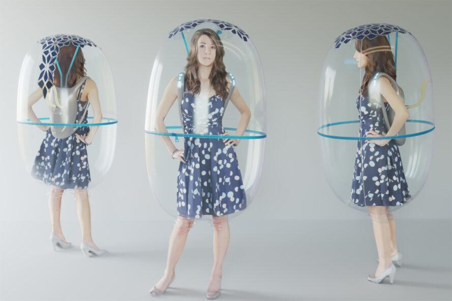 rendu d'angles différents d'un bouclier en forme de bulle enveloppant une personne