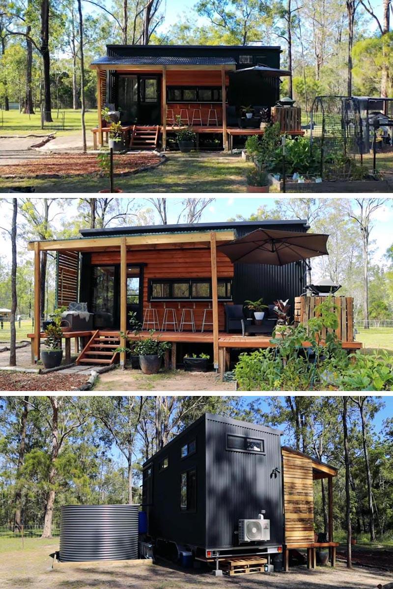 Cette minuscule maison moderne en métal ondulé noir, des accents de bois et deux chambres en mezzanine. #TinyHouse # 2ChambreTinyHouse #ModernTinyHouse #Architecture