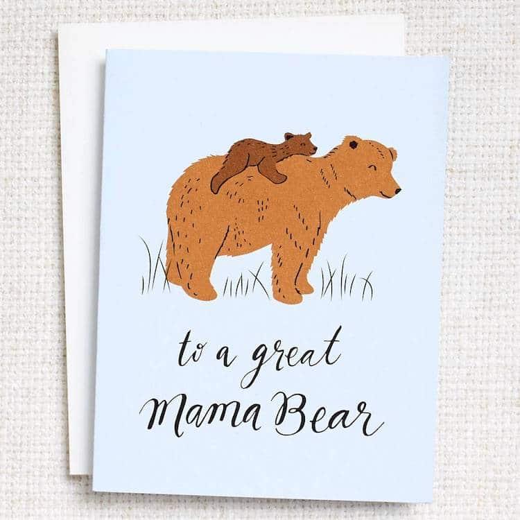 Carte de voeux de maman ours