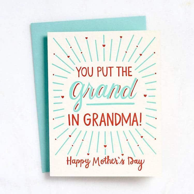 Carte de fête des mères pour grand-mère