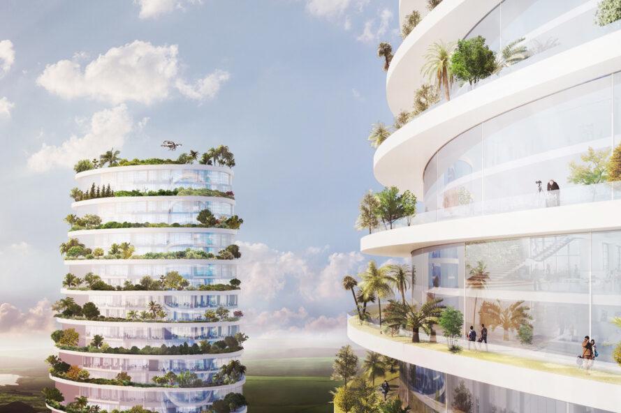rendu des gens sur des balcons blancs couverts de plantes