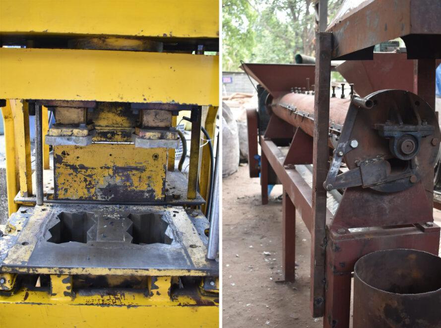 deux images: à gauche, une machine jaune qui crée des SPB. à droite, une machine rouille qui aide à fabriquer des SPB.