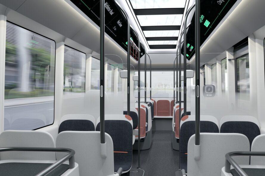 rendu de l'intérieur du bus avec plusieurs sièges