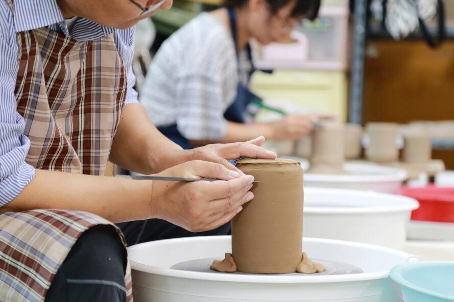 personne, confection, vase, poterie, roue