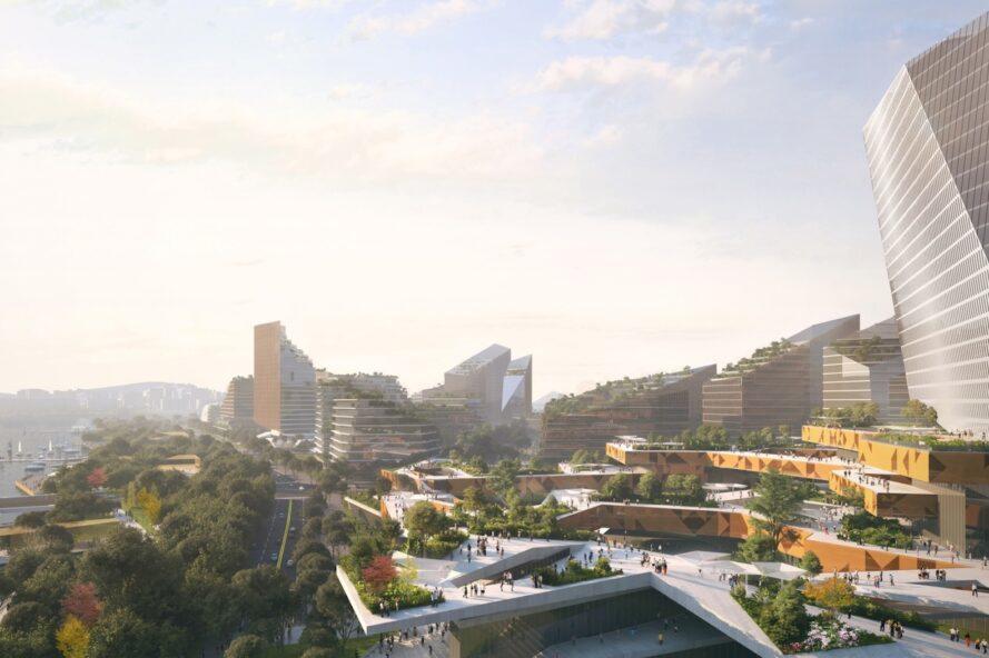 rendu des bâtiments aux toits verts en quinconce