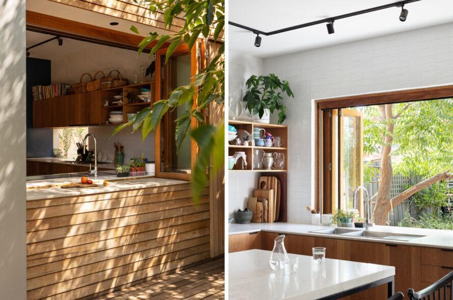 cuisine avec grande fenêtre sur l'évier ouvrant sur l'arrière-cour