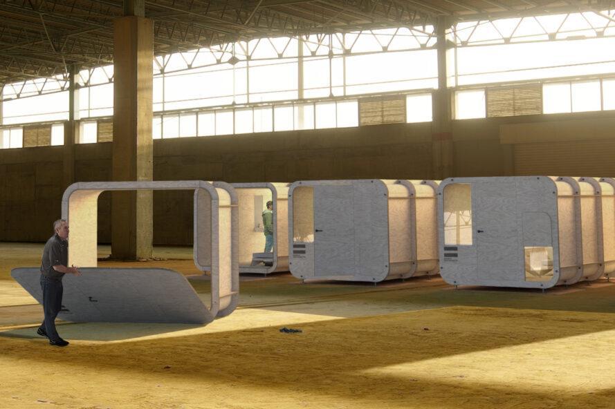 entrepôt avec plusieurs bâtiments cubiques en contreplaqué