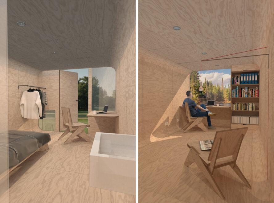intérieur doublé de contreplaqué avec grande fenêtre et quelques meubles en bois