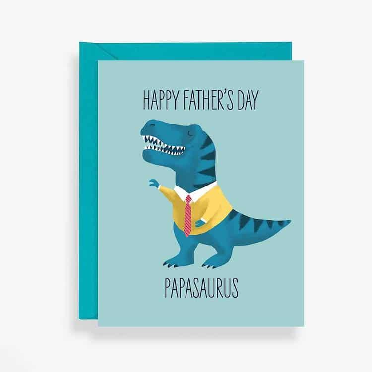 Carte de fête des pères Papasaurus