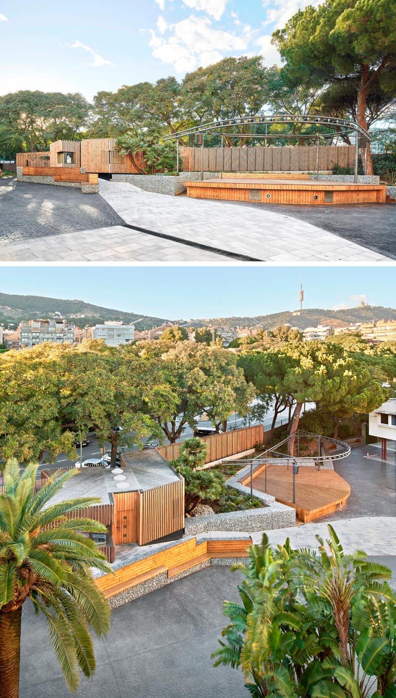 COMA Arquitectura a conçu l'entrée d'une école à Barcelone, qui présente des gabions en forme de bancs et de murs de soutènement. #Gabions #GabionBench #GabionRetainingWall #LandscapingIdeas #LandscapeDesign