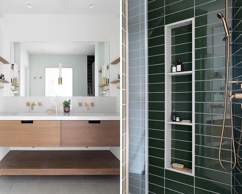 Cette salle de bain principale moderne a une vanité double conçue sur mesure avec un comptoir et un dosseret en quartz de type béton.  La couleur a été ajoutée dans la douche avec l'utilisation de carreaux de métro verts et de luminaires en laiton.  #MasterBathroom #BrassFixtures #GreenSubwayTiles #DoubleVanity #ModernBathroom
