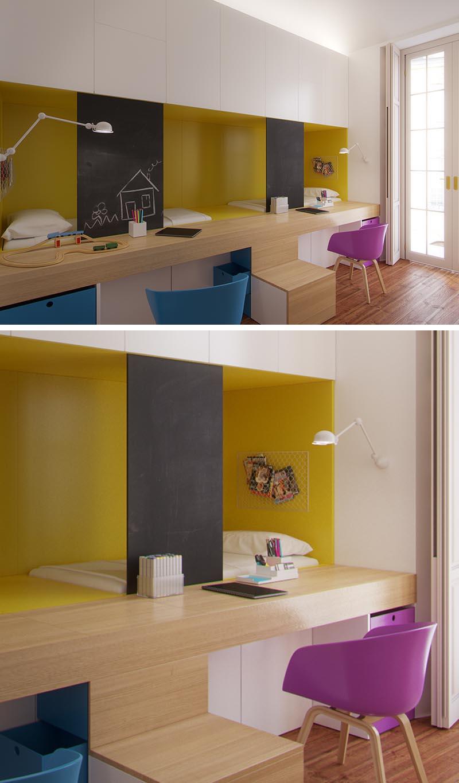 Cette chambre d'enfant partagée moderne dispose de deux lits qui sont nichés derrière les bureaux intégrés, avec le bureau faisant partie des escaliers pour atteindre les lits. La niche de couchage est surlignée en jaune, tandis qu'au-dessus, des armoires blanches offrent un espace de stockage et des écrans de sécurité se transforment en tableau noir sur lequel les enfants peuvent s'appuyer. #KidsBedroom #SharedBedroom #BedroomIdeas #BuiltInBeds #BuiltInDesks