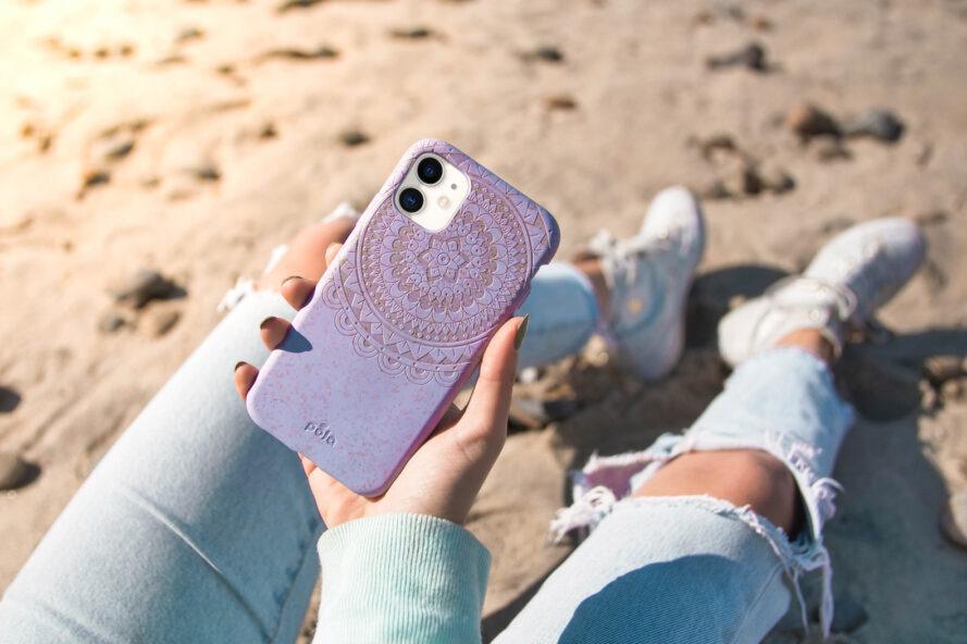 personne, plage, tenue, téléphone, clair, violet, cas