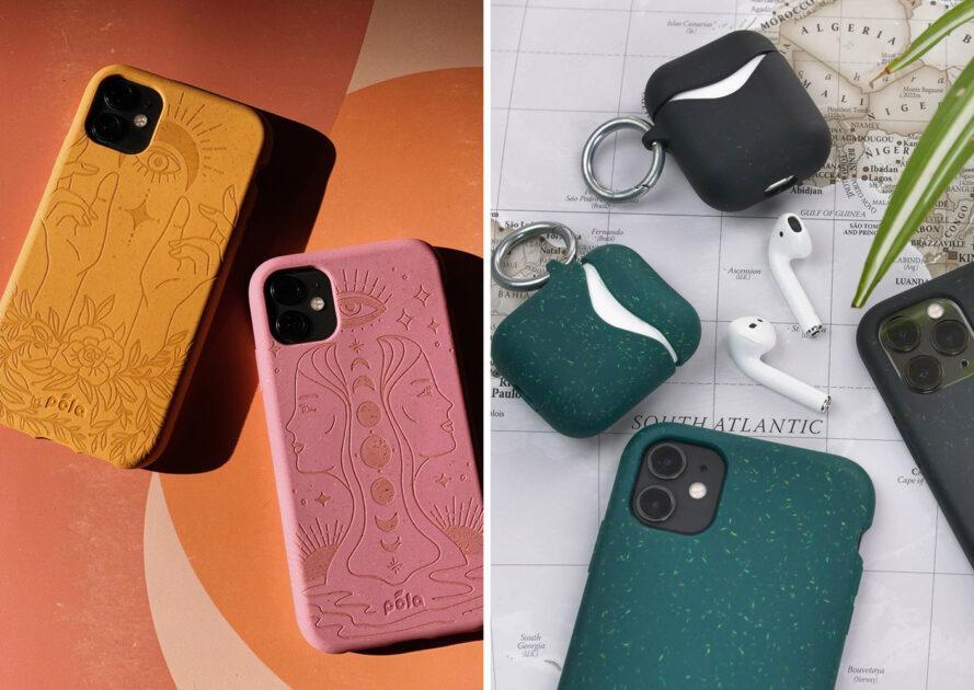 A gauche, étuis de téléphone rose et jaune sur fond orange. A droite, téléphones avec étuis verts et noirs à côté d'écouteurs avec étuis noirs et verts
