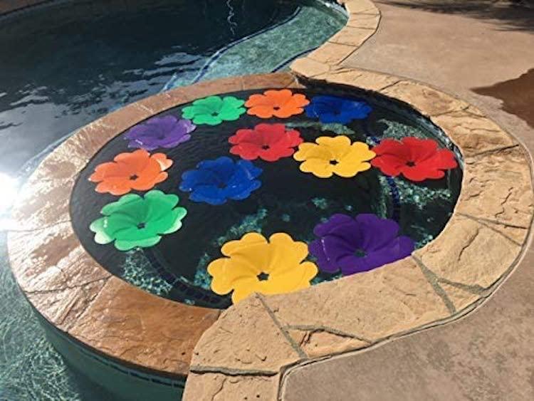 Panneau solaire piscine fleurs