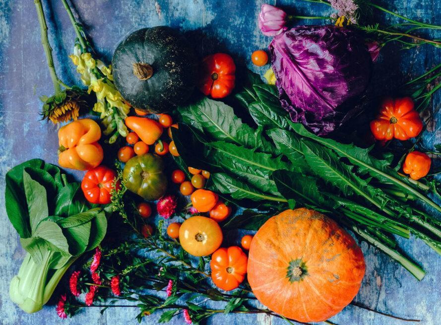 une tartinade de légumes variés dont courge, citrouille, tomate et légumes verts