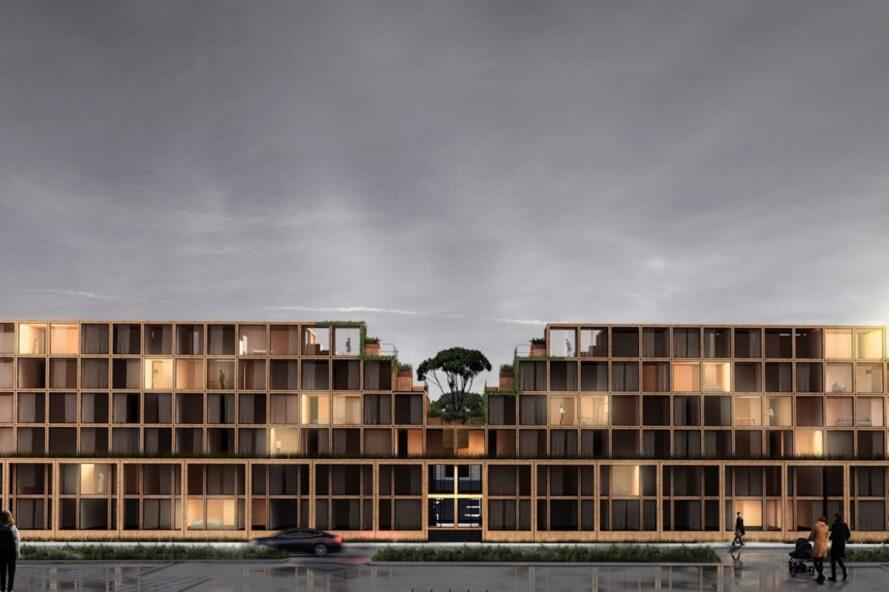 bâtiment à plusieurs étages composé de volumes de cubes de bois empilés