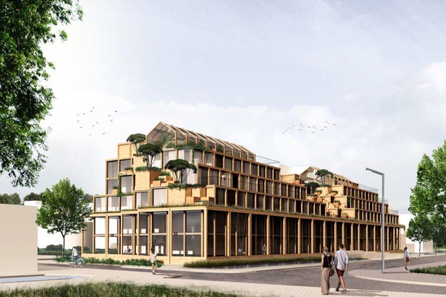 rendu de bâtiment en bois allongé