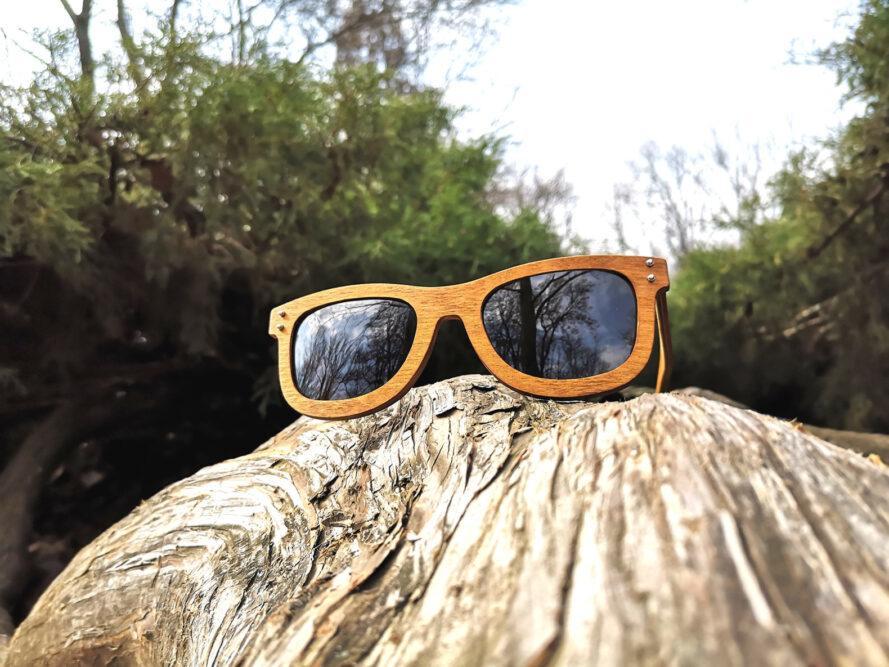 paire de lunettes de soleil en bois clair sur une souche d'arbre dans une forêt