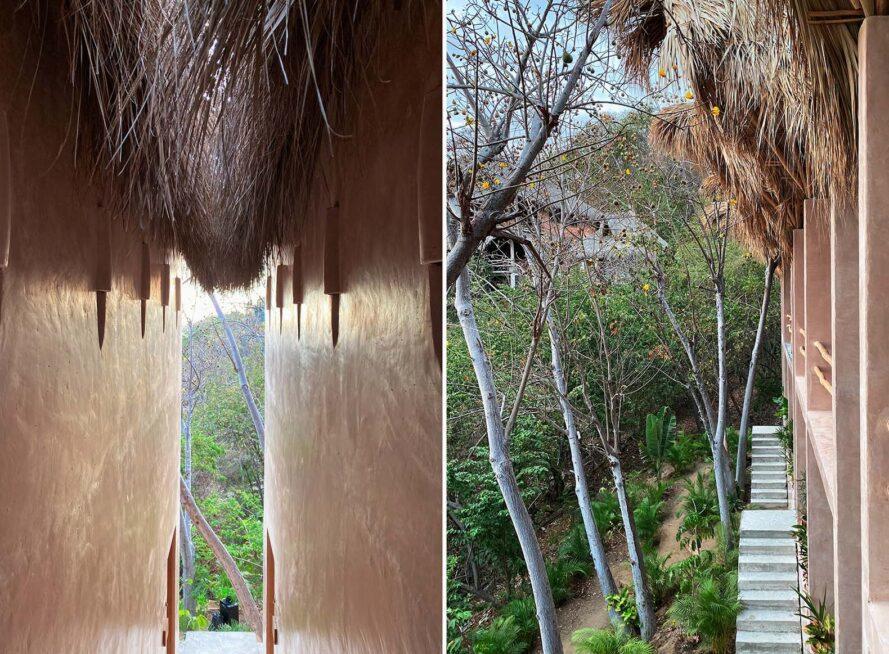 deux images: à gauche, une étroite passerelle entre deux murs beiges qui descend dans une jungle verte.  à droite, des arbres et de la verdure entourant les murs extérieurs et les escaliers de l'hôtel.